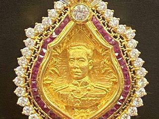 เหรียญกรมหลวงชุมพรเนื้อทองเลี่ยมทองคำเพชร