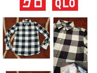 เสื้อเชิ้ต Uniqlo ลายสก๊อต ของแท้ สี ดำเทาขาว สภาพ ใหม่มากๆ